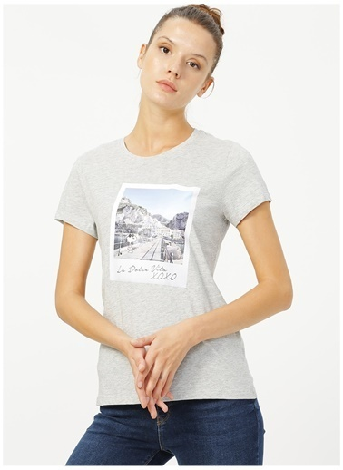 Only Only Gri Baskılı T-Shirt Gri
